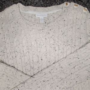 Charter Club Speckled Cream Cable Knit Sweater M